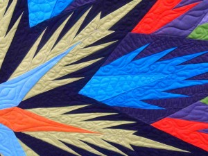 Close up of the amazing quilting