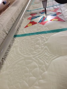 Close up of the quilting process