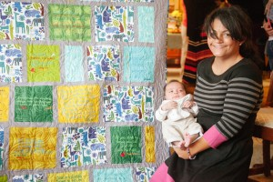 Logan and Mama with his quilt